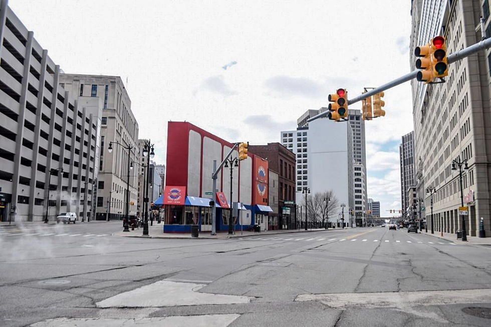 A virtually empty downtown Detroit days after Gov. Whitmer called for all dine-in restaurants to close in March.