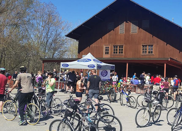The annual ride stops for beer at the Paint Creek Cider Mill. - PHOTO COURTESY STEVE JOHNSON