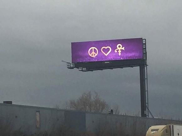 Billboard showing love for Prince - PHOTO VIA TWITTER USER @BECKALUIGIKZ