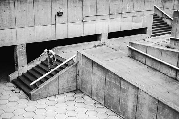 "Quentin Boyer jumping onto ""basement 9 rail"" - PHOTO CREDIT: DOMINIC PALARCHIO"