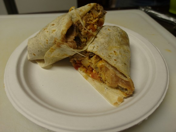 Smoked pork burrito from Kelly's in Hamtramck. - PHOTO BY SERENA MARIA DANIELS.