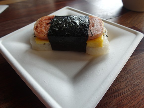 The musubi, pictured here, can be found in diners, shops, and underground hole-in-the-walls all over the islands. - BY SERENA MARIA DANIELS.