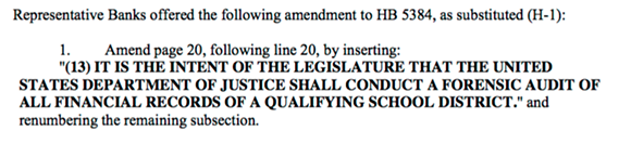 The amendment proposed by Rep. Banks.