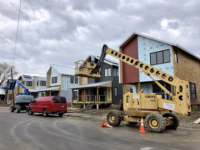 Homes under construction in Midtown. - STEVE NEAVING