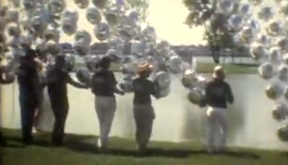 "Crews assemble the artwork ""Floating River"" in June of 1986. - COURTESY MARTIN HATCHER"
