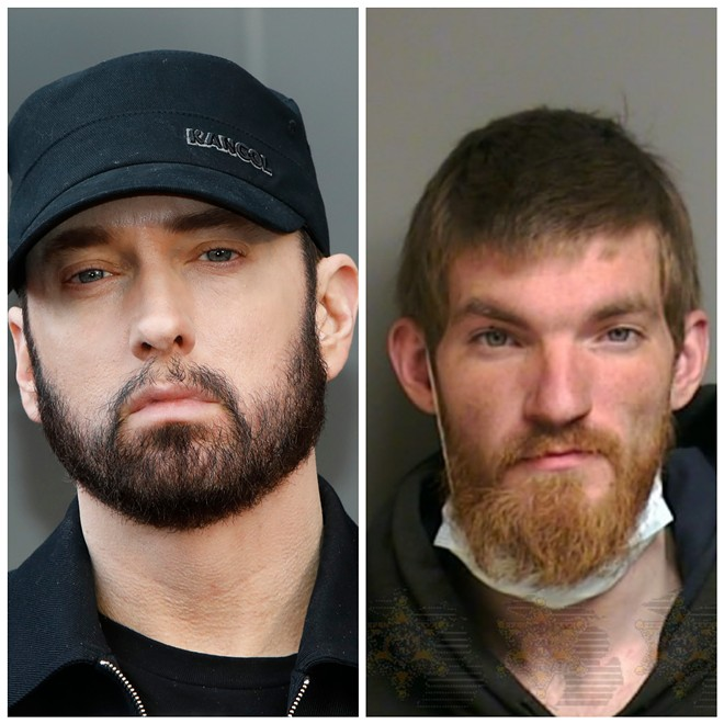 Eminem faced Matthew Hughes, right, when he broke into his Detroit home earlier this month. - KATHY HUTCHINS / SHUTTERSTOCK.COM, MACOMB COUNTY SHERIFF DEPARTMENT