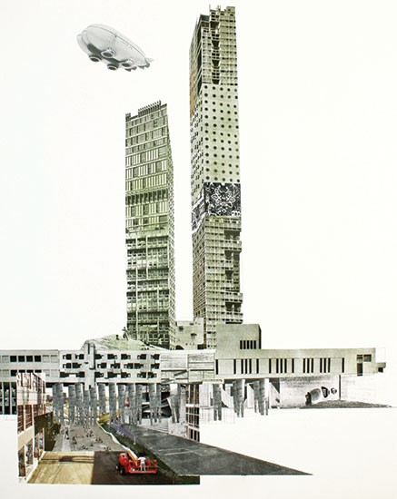 This plan for the Dequindre Cut involves covering the cut with something that looks like a mixture of an Erector Set and space junk. The city gets unattractive, prohibitively costly towers, presumably reachable by a kind of technology not yet invented, while cyclists and joggers get obstructed views and jarringly ugly facades to look at. - IMAGE COURTESY MARSHALL BROWN PROJECTS