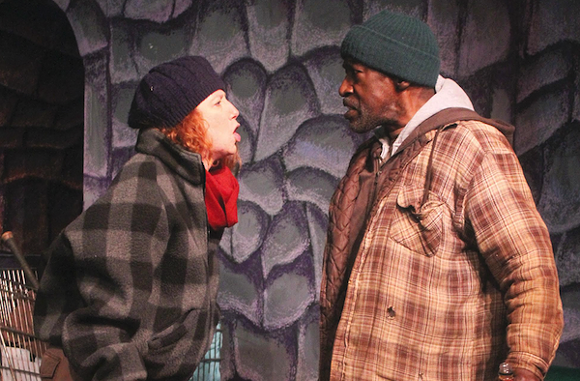 """Leah Smith and Robert Vogue Williams in """"Homeless and How We Got That Way"""" - PHOTO COURTESY DETROIT REPERTORY THEATRE"""
