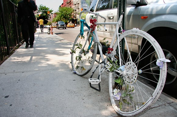 A ghost bike memorial for a killed cyclist in New York. - SHUTTERSTOCK