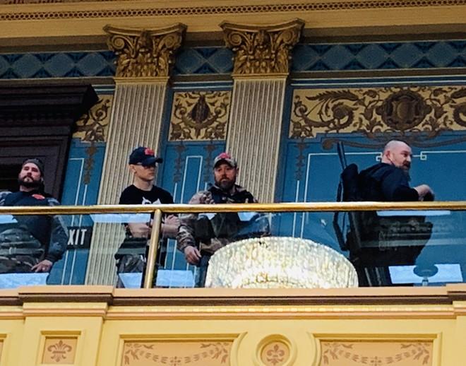 Armed protesters stormed the Michigan Capitol Building last month. - SNATOR DAYNA POLEHANKI TWITTER ACCOUNT @SENPOLEHANKI