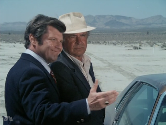 """In """"The Great Blue Lake Land Development Company,"""" a huckster tries to sell """"Rocky"""" Rockford """"lakefront"""" property in the desert. - SCREEN CAPTURE FROM 'THE ROCKFORD FILES'"""