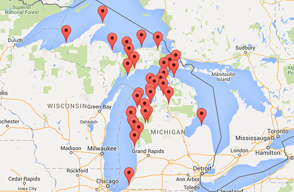 Each marker represents a trip and a corresponding trip report the family has published on mymichigantrips.com.