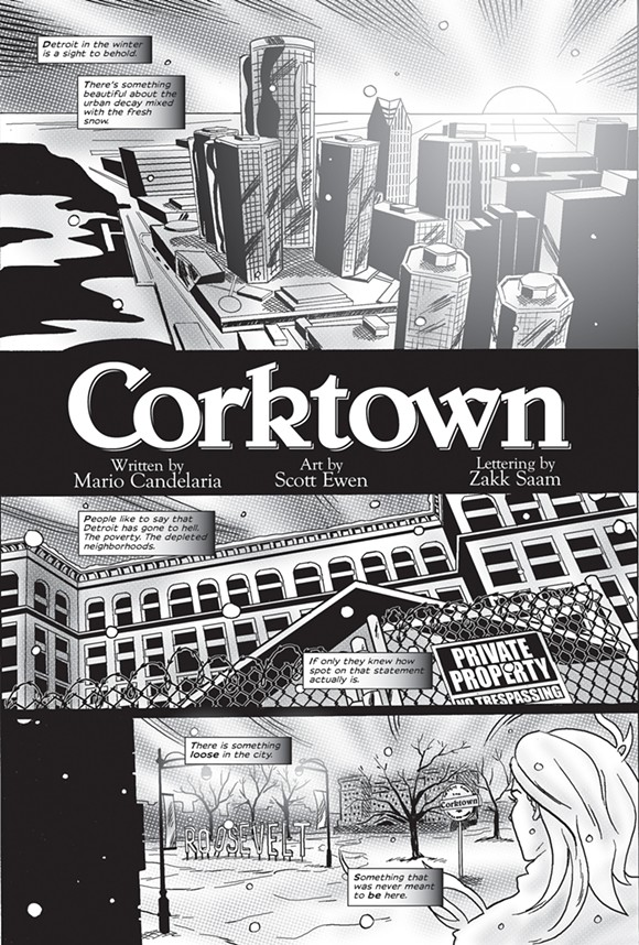 The Detroit skyline, as drawn by Scott Ewen, serves as the comic's first page. - PHOTO COURTESY OF MARIO CANDELARIA