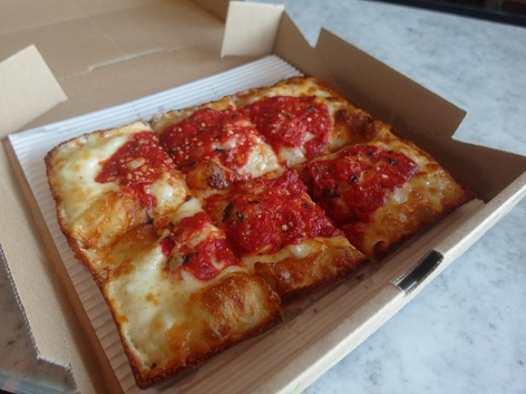 A Classic square pizza from Emmy Squared in Brooklyn. - PHOTO BY SERENA MARIA DANIELS
