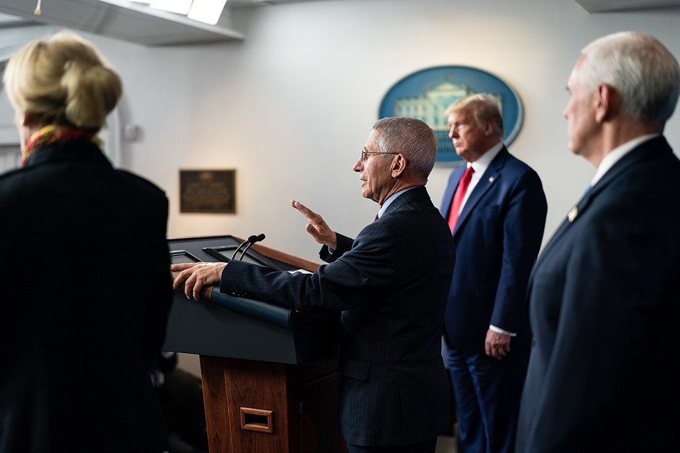 Dr. Anthony Fauci, President Donald J. Trump, and Vice President Mike Pence at a coronavirus update briefing in March. - OFFICIAL WHITE HOUSE PHOTO BY ANDREA HANKS