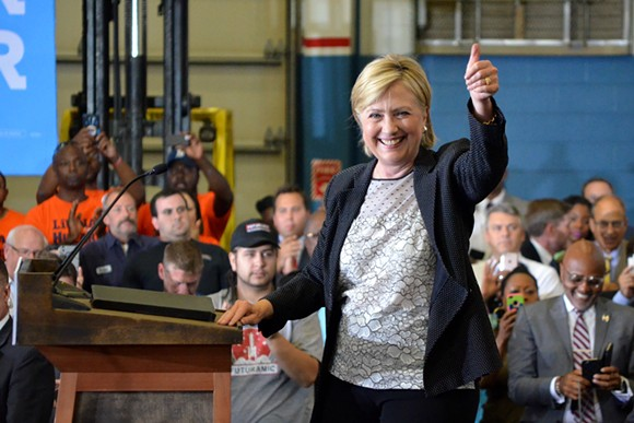 Democratic presidential nominee Hillary Clinton smiles after a speech in Warren on Thursday. - PHOTO BY DUSTIN BLITCHOK
