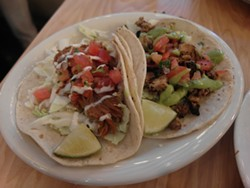 The Chipotle pork and pollo asado tacos, priced at $4.50 each. - PHOTO BY SERENA MARIA DANIELS