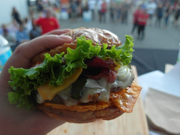Ali's Notch-Yo-Burger, winner of the 2016 Burger Brawl. - PHOTO BY SERENA MARIA DANIELS