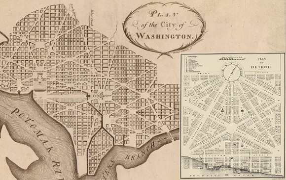 Note well the differences between early plans for D.C. and Detroit. - COURTESY DETROIT URBANISM BLOG