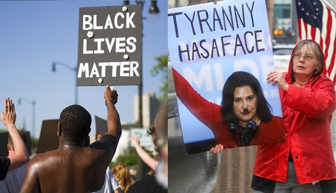 Left: A young man at a Black Lives Matter protest in Detroit. Right: An elderly woman at an anti-Whitmer rally in Lansing. - STEVE NEAVLING/RUSTY YOUNG
