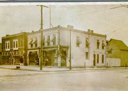 A 1920s photograph of the Milwaukee and Beubien intersection, which is now home to Kiesling and Milwaukee Caffè. - COURTESY OF CARLO LIBURDI AND ASHLEY DAVIDSON
