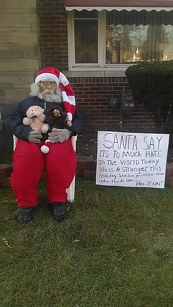 Haddon's love-spreading Santa. - PHOTO BY LARETHIA HADDON