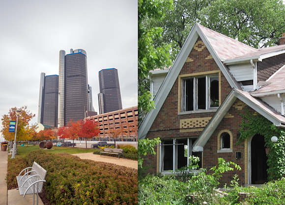 "A summary of the article notes that ""much of the city's high-profile development is centered in a roughly seven-mile-square area ... in the other 95 percent of Detroit ... decay continues to dominate the post-apocalyptic neighborhood landscape."" - PHOTOMONTAGE SOURCED FROM SHUTTERSTOCK (LEFT) AND MT FILE PHOTOS (RIGHT)"