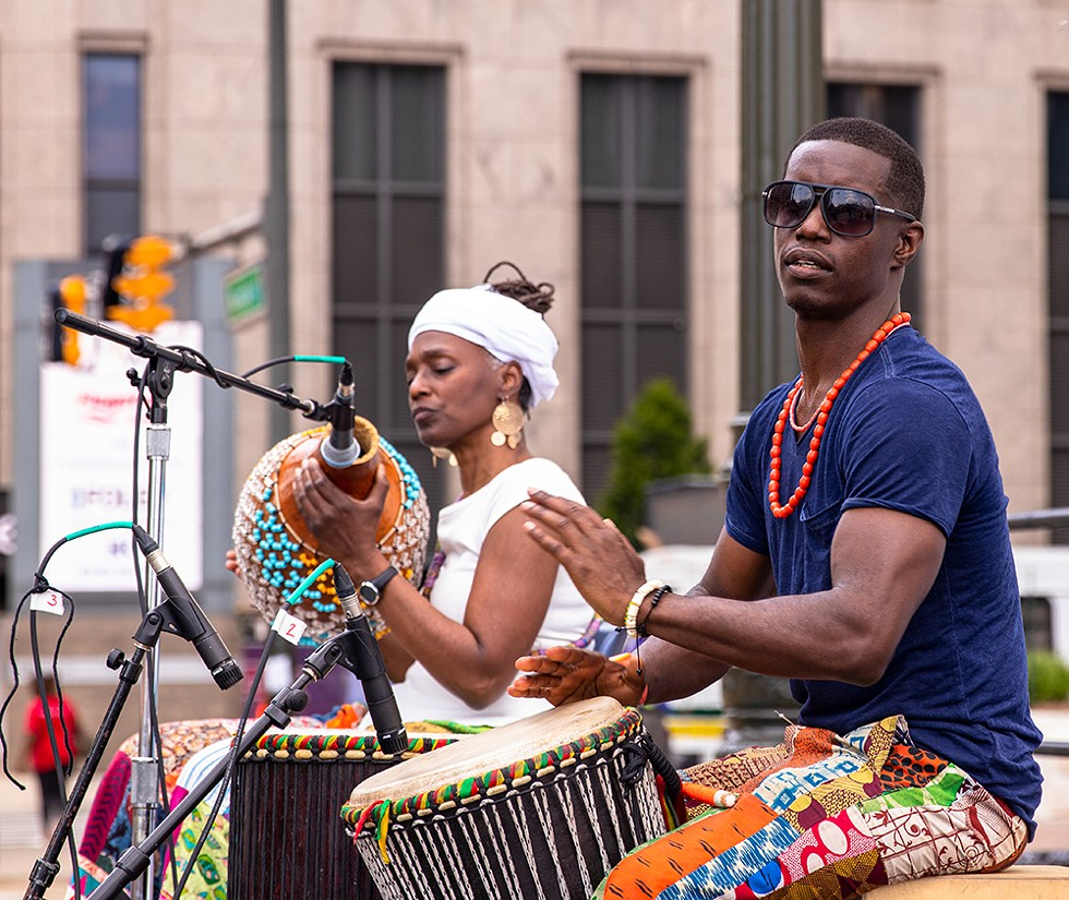 Drummers celebrating Detroit's first official Juneteenth festivities last year.
