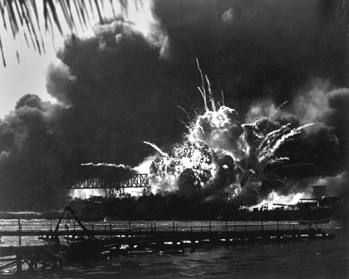 Explosion of the USS Shaw's forward magazine during the Japanese attack on Pearl Harbor, Dec. 7, 1941. - PHOTO COURTESY SHUTTERSTOCK