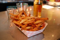 The cooked-in-lard garlic fries at Mercury Burger Bar just got a bit more approachable. - PHOTO BY MICHAEL JACKMAN