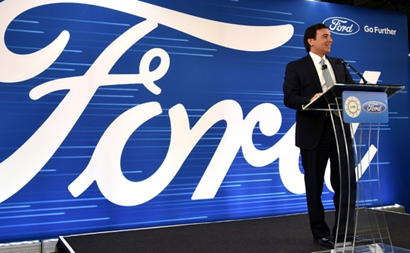 Ford Motor Company CEO Mark Fields announcing a $700 million investment to expand its Flat Rock plant. - COURTESY PHOTO