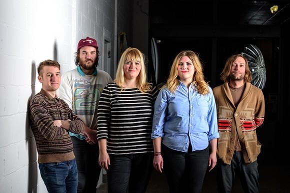 Drinkard Sisters: Nick Landstrom, Dan Clark, Caitlin Drinkard, Bonnie Drinkard, and Ryan Harroun - PHOTO BY DOUG COOMBE
