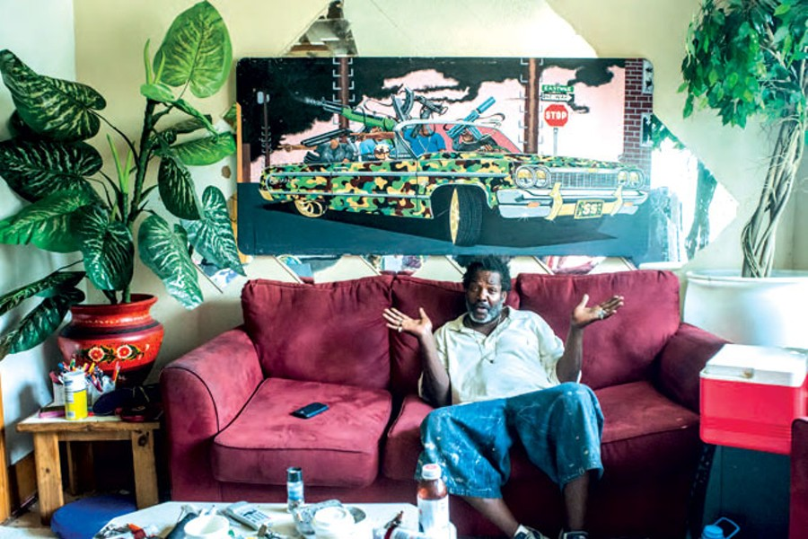 "Detroit artist ""Bird,"" photographed at his home and studio. Vergara asks, ""These folks who walk the streets and knock on your door and say, 'Do you need some painting here?' How are they going to get a Kresge grant?"""