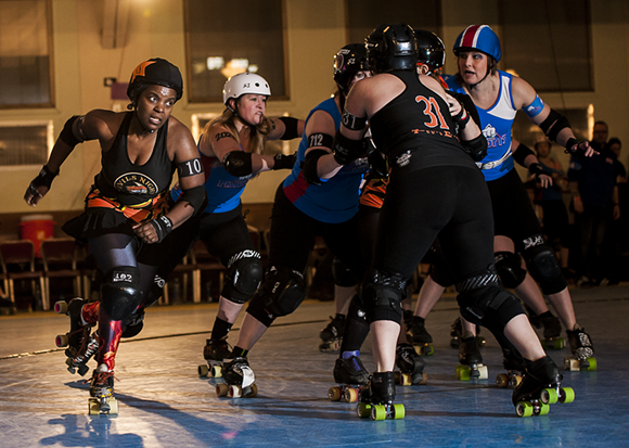 Detroit Roller Derby Double Header at Masonic Temple. Photo by Josh Kahl.