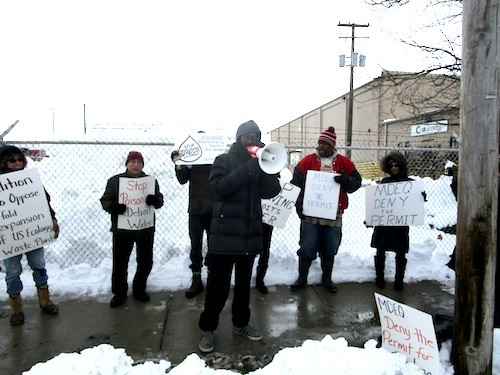 Will Copeland of EMEAC speaks at a protest and press conference opposing a DEQ permit for a tenfold expansion of a toxic waste facility in Detroit this January. - PHOTO BY MICHAEL JACKMAN