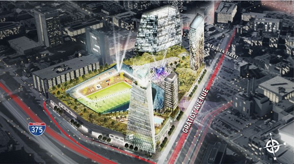 "Digital rendering of the proposed $1 billion mixed-use development at the ""fail jail"" site. - ROCK VENTURES"