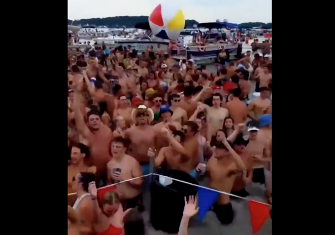 Screengrab of partiers at Diamond Lake. - MAX LEWIS ON TWITTER