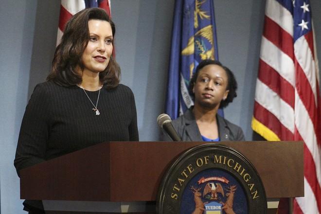 Gov. Gretchen Whitmer, left, with Dr. Joneigh Khaldun, the state's chief medical officer. - GOVERNOR'S OFFICE