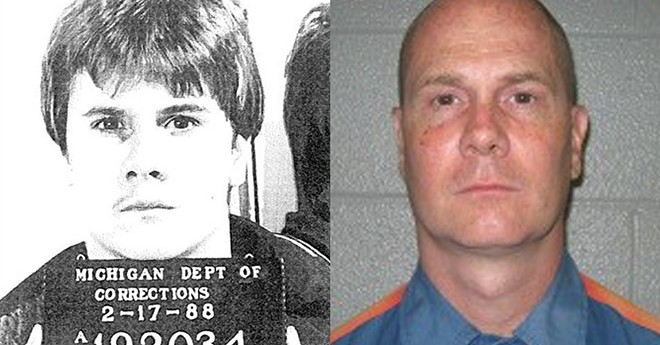 Richard Wershe Jr.'s mugshot circa 1987, left, and circa 2012, right. - MICHIGAN DEPT. OF CORRECTIONS