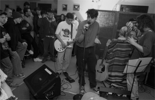 "A band captured mid-set at the Zone Coffee house on Michigan Avenue on the east end of Dearborn. Harkness says it was open ""from 1994 to early 1998, when it was closed by the Dearborn Police."" No fun, indeed. - PHOTO COURTESY BRUCE HARKNESS"