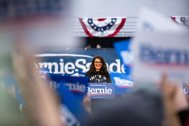 Rashida Tlaib at a rally for Sen. Bernie Sanders at Detroit's Cass Tech High School. - ERIK PAUL HOWARD
