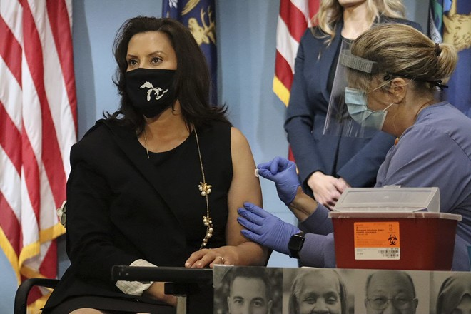 Gov. Gretchen Whitmer receives a flu shot Tuesday. - STATE OF MICHIGAN