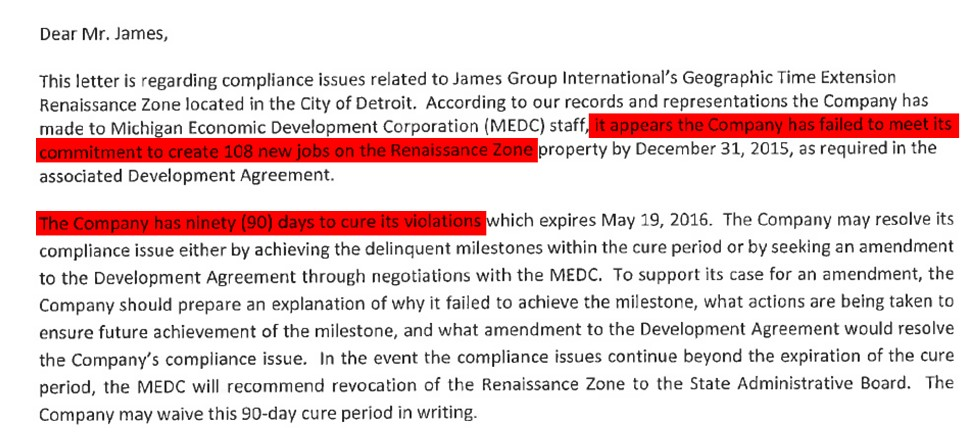 "The MEDC noted that James Group International ""failed to meet its commitment to create 108 new jobs."" - MEDC"