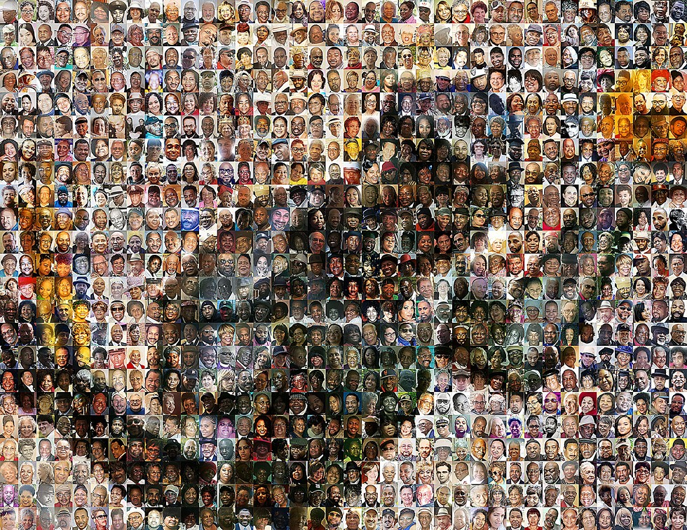 Artist Eric Millikin created this montage from nearly 900 photos representing a majority of the 1,500 Detroiters lost to the virus so far, between March and Aug. 18. - ERIC MILLIKIN