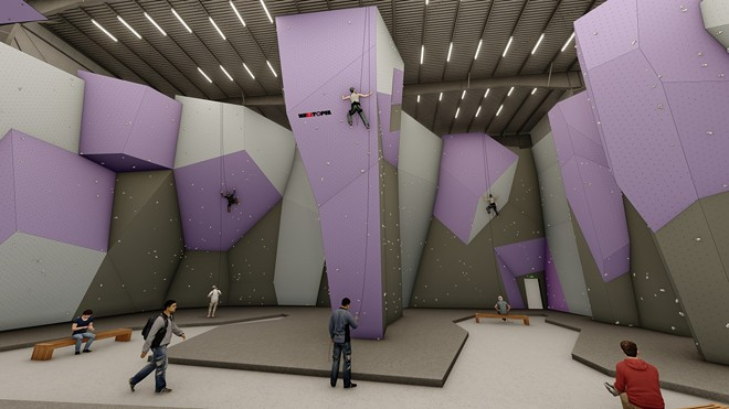 Indoor renderings of DYNO Climbing and Fitness, a new indoor rock climbing gym coming to Detroit's Eastern Market. - RENDERINGS COURTESY DINO RUGGERI
