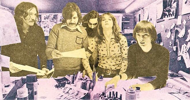Photo by Richard Lee (from left): Charlie Auringer, Lester Bangs, Ric Siegel, Jaan Uhelszki, and Dave Marsh.