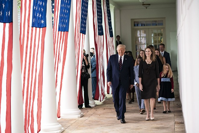 President Donald Trump walks with Judge Amy Coney Barrett, his nominee for Associate Justice of the Supreme Court of the United States. - PUBLIC DOMAIN