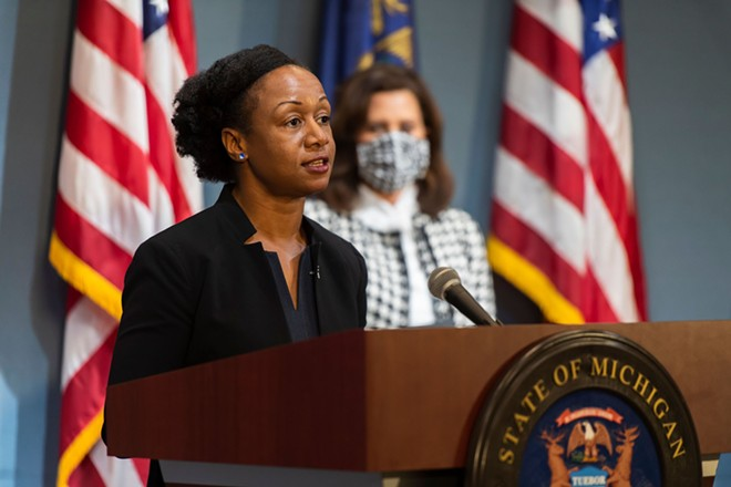 Dr. Joneigh Khaldun, the state's chief medical executive, at a recent news conference. - STATE OF MICHIGAN