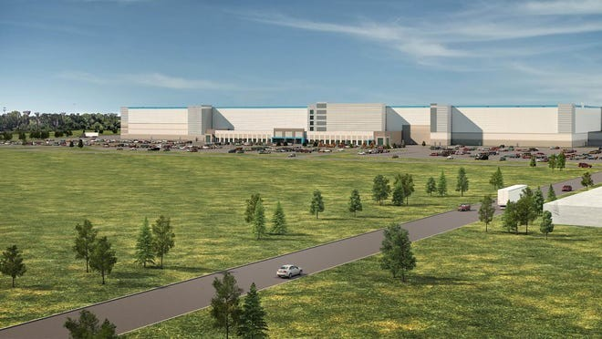 Rendition of the Amazon fulfillment center on the Michigan State Fairgrounds in Detroit. - STERLING GROUP