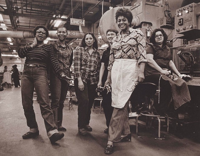 """Press Operators, GM Fisher Body Trim Plant, Fort Street, Detroit Michigan,"" 1982, Russ Marshall, American; gelatin silver print. - COURTESY OF THE DIA"